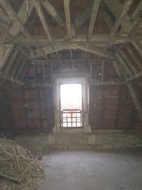 Demolition, ancient houses, beams and framing.