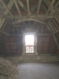 Demolition, ancient houses, beams and framing.