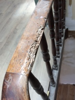 Insect damage, stair railings,