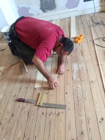 Insect Damage, floor board replacement, craftsman at work