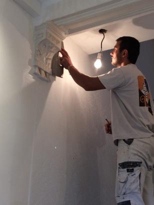 Wall restoration, fiberglass, craftsmen at work, renovation, restoration.