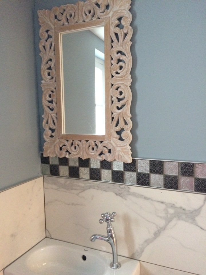 Old Mirrors, new tile, toilette room ideas