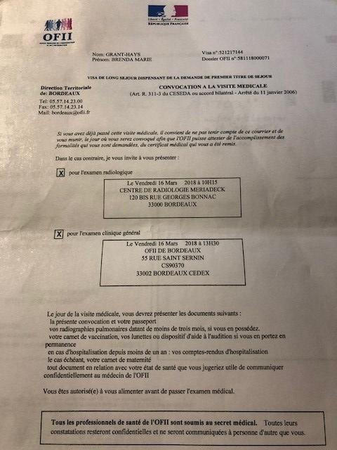 visite médicale ofii carte de séjour ofii forme | My Other House is in France
